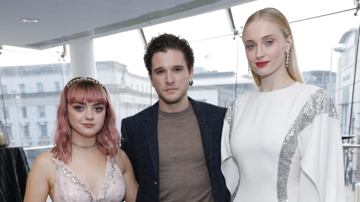 BELFAST, NORTHERN IRELAND - APRIL 12: (L-R) Maisie Williams, Kit Harington, Sophie Turner attend the Sky Atlantic 'Game of Thrones' Season 8 premiere at Waterfront Hall on April 12, 2019 in Belfast, Northern Ireland. (Photo by David M. Benett/Dave Benett/Getty Images for Sky Atlantic UK)