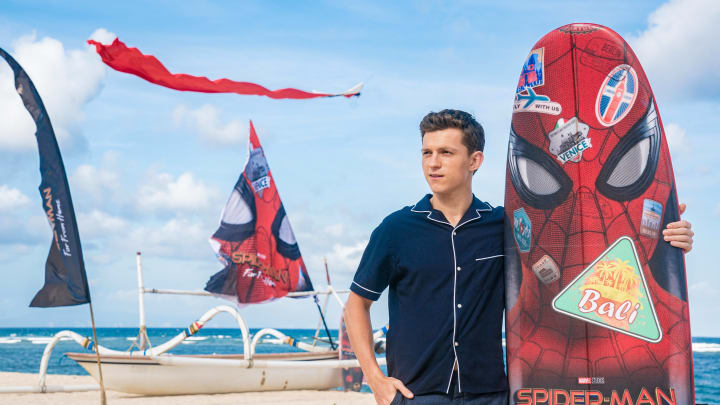 """DENPASAR, BALI, INDONESIA - MAY 28: Tom Holland attends a photocall for """"Spider-Man: Far From Home"""" during the Pan-Asian Media Summit Bali event on May 28, 2019 in Denpasar, Bali, Indonesia. (Photo by Anthony Kwan/Getty Images for Sony Pictures Entertainment )"""