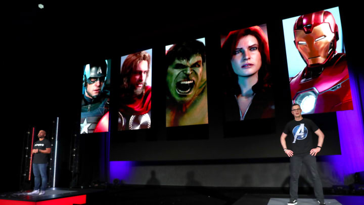 LOS ANGELES, CALIFORNIA - JUNE 10: (L-R) Crystal Dynamics' Creative Director Shaun Escayg and Marvel Games' Vice President & Creative Director Bill Rosemann unveil Marvel's Avengers game content during Square Enix Live E3 2019 in downtown Los Angeles on Monday, June 10, 2019. (Photo by Joe Scarnici/Getty Images For Square Enix)