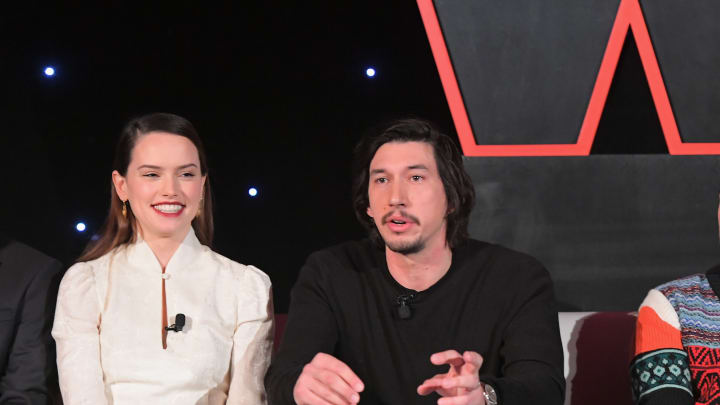 LOS ANGELES, CA - DECEMBER 03:  (L-R) Actors Daisy Ridley, Adam Driver and Oscar Isaac attend the press conference for the highly anticipated Star Wars: The Last Jedi at InterContinental Los Angeles on December 3, 2017 in Los Angeles, California.  (Photo by Charley Gallay/Getty Images for Disney )