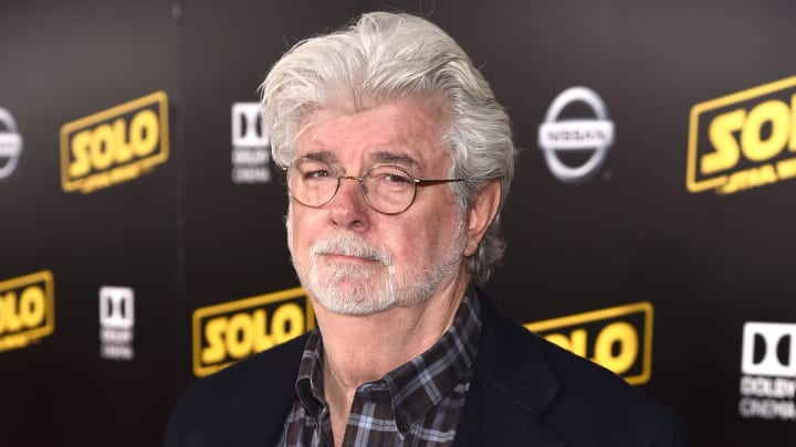 """HOLLYWOOD, CA - MAY 10:  George Lucas attends the world premiere of """"Solo: A Star Wars Story"""" in Hollywood on May 10, 2018.  (Photo by Alberto E. Rodriguez/Getty Images for Disney)"""