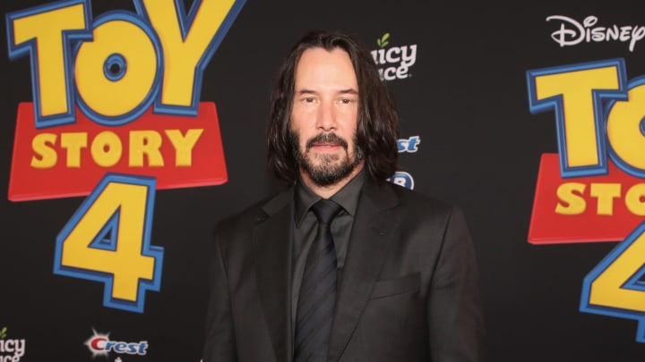HOLLYWOOD, CA - JUNE 11: (EDITORS NOTE: Retransmission with alternate crop.) Keanu Reeves attends the world premiere of Disney and Pixar's TOY STORY 4 at the El Capitan Theatre in Hollywood, CA on Tuesday, June 11, 2019.  (Photo by Jesse Grant/Getty Images for Disney)