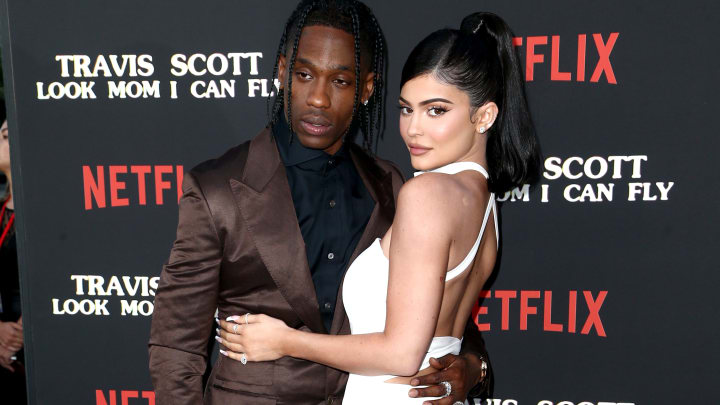 """SANTA MONICA, CALIFORNIA - AUGUST 27: Travis Scott and Kylie Jenner attend the Travis Scott: """"Look Mom I Can Fly"""" Los Angeles Premiere at The Barker Hanger on August 27, 2019 in Santa Monica, California. (Photo by Tommaso Boddi/Getty Images for Netflix)"""