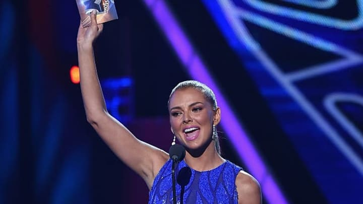 MIAMI, FL - JULY 16:  Marjorie de Sousa speaks onstage at Univision's Premios Juventud 2015 at Bank United Center on July 16, 2015 in Miami, Florida.  (Photo by Rodrigo Varela/Getty Images For Univision)