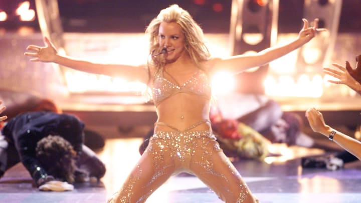 Britney Spears in David Dalrymple performing onstage at the 2000 MTV Video Music Awards held at Radio City Music Hall on September 7, 2000  Photographer:  Scott Gries/Getty Images