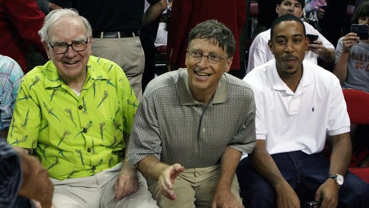 Warren Buffett, Bill Gates and Ludacris at the 2008 State Farm USA Basketball Challenge: USA v Canada.
