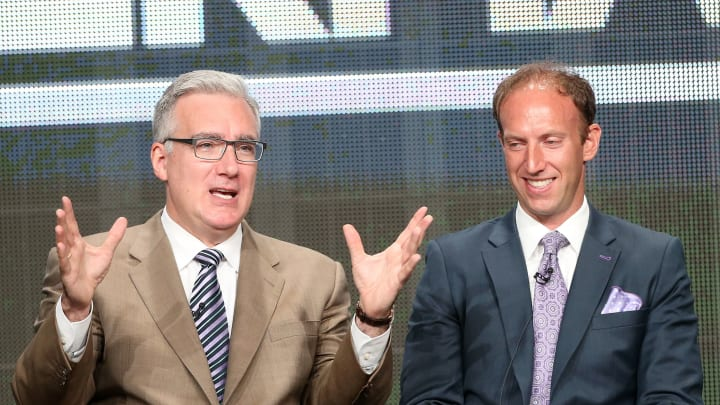 BEVERLY HILLS, CA - JULY 24:  TV Personality Keith Olbermann (L) and Jamie Horowitz, VP at ESPN, speak onstage during the Olbermann panel at the ESPN portion of the 2013 Summer Television Critics Association tour at the Beverly Hilton Hotel on July 24, 2013 in Beverly Hills, California.  (Photo by Frederick M. Brown/Getty Images)