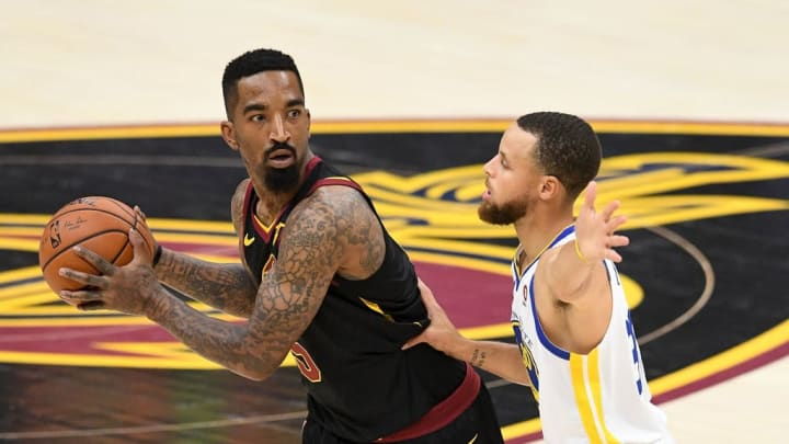 CLEVELAND, OH - JUNE 08:  JR Smith #5 of the Cleveland Cavaliers defended by Stephen Curry #30 of the Golden State Warriors in the first half during Game Four of the 2018 NBA Finals at Quicken Loans Arena on June 8, 2018 in Cleveland, Ohio. NOTE TO USER: User expressly acknowledges and agrees that, by downloading and or using this photograph, User is consenting to the terms and conditions of the Getty Images License Agreement.  (Photo by Jason Miller/Getty Images)