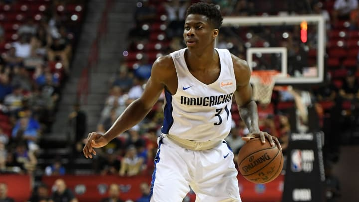 LAS VEGAS, NV - JULY 09:  Kostas Antetokounmpo #37 of the Dallas Mavericks brings the ball up the court against the Golden State Warriors during the 2018 NBA Summer League at the Thomas & Mack Center on July 9, 2018 in Las Vegas, Nevada. The Mavericks defeated the Warriors 91-71. NOTE TO USER: User expressly acknowledges and agrees that, by downloading and or using this photograph, User is consenting to the terms and conditions of the Getty Images License Agreement.  (Photo by Ethan Miller/Getty Images)