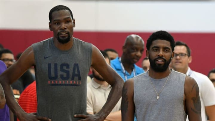 LAS VEGAS, NV - JULY 27:  (L-R) Carmelo Anthony and Kevin Durant #52 and Kyrie Irving #37 of the United States attend a practice session at the 2018 USA Basketball Men's National Team minicamp at the Mendenhall Center at UNLV on July 27, 2018 in Las Vegas, Nevada.  (Photo by Ethan Miller/Getty Images)
