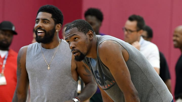 LAS VEGAS, NV - JULY 27:  Kyrie Irving #37 and Kevin Durant #52 of the United States attend a practice session at the 2018 USA Basketball Men's National Team minicamp at the Mendenhall Center at UNLV on July 27, 2018 in Las Vegas, Nevada.  (Photo by Ethan Miller/Getty Images)