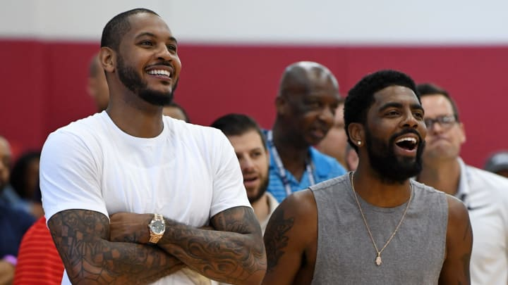 LAS VEGAS, NV - JULY 27:  Carmelo Anthony (L) and Kyrie Irving #37 of the United States laugh as they attend a practice session at the 2018 USA Basketball Men's National Team minicamp at the Mendenhall Center at UNLV on July 27, 2018 in Las Vegas, Nevada.  (Photo by Ethan Miller/Getty Images)