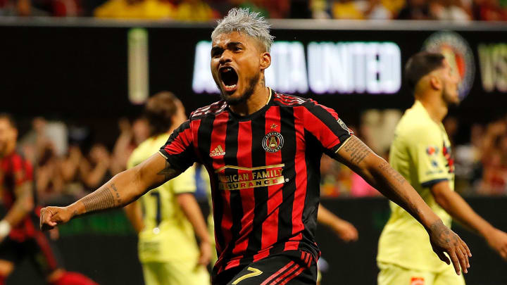 ATLANTA, GEORGIA - AUGUST 14:  Josef Martinez #7 of Atlanta United reacts after Jeff Larentowicz #18 scored the second goal against Club America during the final of the Campeones Cup between Club America and Atlanta United at Mercedes-Benz Stadium on August 14, 2019 in Atlanta, Georgia. (Photo by Kevin C. Cox/Getty Images)