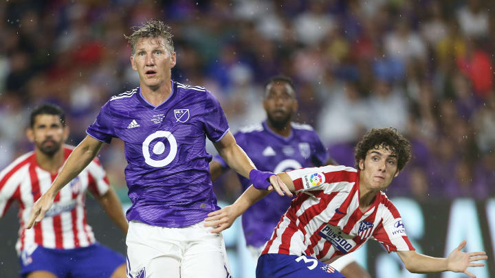 ORLANDO, FL - JULY 31: Bastian Schweinsteiger #31 of MLS All-Star and Sergio Camello #34 of Atletico Madrid react during the 2019 MLS All-Star Game between MLS All Stars and Atletico de Madrid at Exploria Stadium on July 31, 2019 in Orlando, Florida. (Photo by Omar Vega/Getty Images)