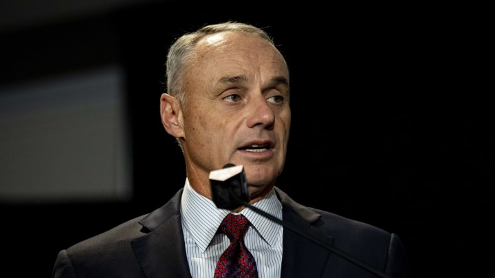 """Rob Manfred called the World Series trophy a """"piece of metal"""" and is stepping back on his comments."""