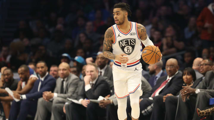 CHARLOTTE, NORTH CAROLINA - FEBRUARY 17: D'Angelo Russell #1 of the Brooklyn Nets dribbles upcourt against Team LeBron in the first quarter during the NBA All-Star game as part of the 2019 NBA All-Star Weekend at Spectrum Center on February 17, 2019 in Charlotte, North Carolina.  NOTE TO USER: User expressly acknowledges and agrees that, by downloading and/or using this photograph, user is consenting to the terms and conditions of the Getty Images License Agreement.  (Photo by Streeter Lecka/Getty Images)