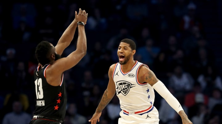 CHARLOTTE, NORTH CAROLINA - FEBRUARY 17: Paul George #13 of the Oklahoma City Thunder and Team Giannis defends James Harden #13 of the Houston Rockets and Team LeBron in the second quarter during the NBA All-Star game as part of the 2019 NBA All-Star Weekend at Spectrum Center on February 17, 2019 in Charlotte, North Carolina.  NOTE TO USER: User expressly acknowledges and agrees that, by downloading and/or using this photograph, user is consenting to the terms and conditions of the Getty Images License Agreement. (Photo by Streeter Lecka/Getty Images)