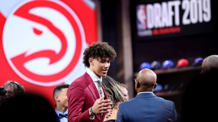 NEW YORK, NEW YORK - JUNE 20: Jaxson Hayes reacts after being drafted with the eighth overall pick by the Atlanta Hawks during the 2019 NBA Draft at the Barclays Center on June 20, 2019 in the Brooklyn borough of New York City. NOTE TO USER: User expressly acknowledges and agrees that, by downloading and or using this photograph, User is consenting to the terms and conditions of the Getty Images License Agreement. (Photo by Mike Lawrie/Getty Images)