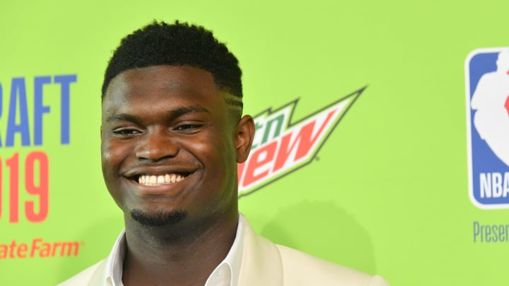 NEW YORK, NEW YORK - JUNE 20: Basketball player Zion Williamson attends the 2019 NBA Draft at Barclays Center on June 20, 2019 in New York City. (Photo by Mike Coppola/Getty Images)