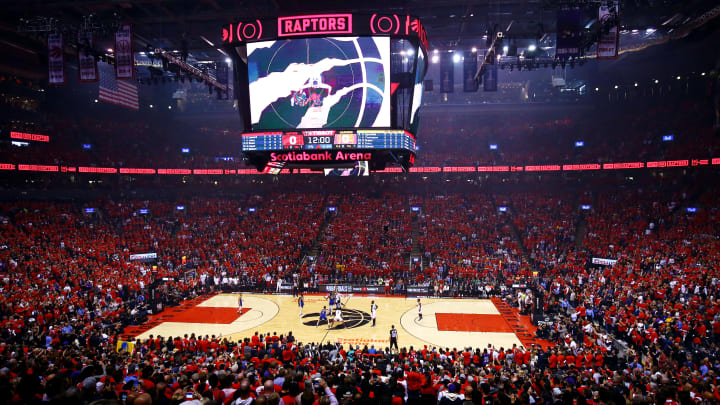 TORONTO, ONTARIO - JUNE 10:  A general view of the opening tip-off during Game Five of the 2019 NBA Finals between the Golden State Warriors and the Toronto Raptors at Scotiabank Arena on June 10, 2019 in Toronto, Canada. NOTE TO USER: User expressly acknowledges and agrees that, by downloading and or using this photograph, User is consenting to the terms and conditions of the Getty Images License Agreement. (Photo by Vaughn Ridley/Getty Images)