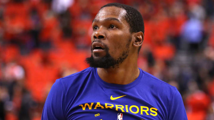 TORONTO, ONTARIO - JUNE 10:  Kevin Durant #35 of the Golden State Warriors warms up prior to Game Five of the 2019 NBA Finals against the Toronto Raptors at Scotiabank Arena on June 10, 2019 in Toronto, Canada. NOTE TO USER: User expressly acknowledges and agrees that, by downloading and or using this photograph, User is consenting to the terms and conditions of the Getty Images License Agreement. (Photo by Gregory Shamus/Getty Images)