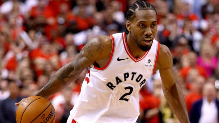 TORONTO, ONTARIO - JUNE 10:  Kawhi Leonard #2 of the Toronto Raptors drives to the basket against the Golden State Warriors in the second half during Game Five of the 2019 NBA Finals at Scotiabank Arena on June 10, 2019 in Toronto, Canada. NOTE TO USER: User expressly acknowledges and agrees that, by downloading and or using this photograph, User is consenting to the terms and conditions of the Getty Images License Agreement. (Photo by Gregory Shamus/Getty Images)