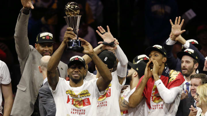 OAKLAND, CALIFORNIA - JUNE 13:  Kawhi Leonard #2 of the Toronto Raptors is awarded the MVP after his team defeated the Golden State Warriors to win Game Six of the 2019 NBA Finals at ORACLE Arena on June 13, 2019 in Oakland, California. NOTE TO USER: User expressly acknowledges and agrees that, by downloading and or using this photograph, User is consenting to the terms and conditions of the Getty Images License Agreement. (Photo by Lachlan Cunningham/Getty Images)