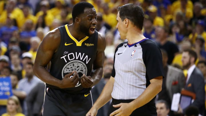 OAKLAND, CALIFORNIA - JUNE 13:  Draymond Green #23 of the Golden State Warriors argues with the referee in the second half against the Toronto Raptors during Game Six of the 2019 NBA Finals at ORACLE Arena on June 13, 2019 in Oakland, California. NOTE TO USER: User expressly acknowledges and agrees that, by downloading and or using this photograph, User is consenting to the terms and conditions of the Getty Images License Agreement. (Photo by Ezra Shaw/Getty Images)