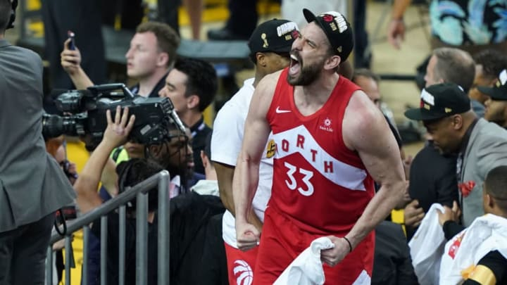 OAKLAND, CALIFORNIA - JUNE 13 Marc Gasol #33 of the Toronto Raptors celebrates his teams victory over the Golden State Warriors in Game Six to win the 2019 NBA Finals at ORACLE Arena on June 13, 2019 in Oakland, California. NOTE TO USER: User expressly acknowledges and agrees that, by downloading and or using this photograph, User is consenting to the terms and conditions of the Getty Images License Agreement. (Photo by Thearon W. Henderson/Getty Images)