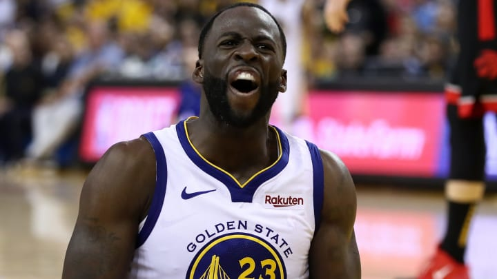 OAKLAND, CALIFORNIA - JUNE 05:  Draymond Green #23 of the Golden State Warriors reacts against the Toronto Raptors during Game Three of the 2019 NBA Finals at ORACLE Arena on June 05, 2019 in Oakland, California. NOTE TO USER: User expressly acknowledges and agrees that, by downloading and or using this photograph, User is consenting to the terms and conditions of the Getty Images License Agreement. (Photo by Ezra Shaw/Getty Images)