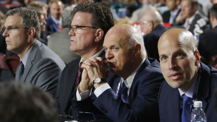 VANCOUVER, BRITISH COLUMBIA - JUNE 22: Lou Lamoriello of the New York Islanders attends the 2019 NHL Draft at the Rogers Arena on June 22, 2019 in Vancouver, Canada. (Photo by Bruce Bennett/Getty Images)
