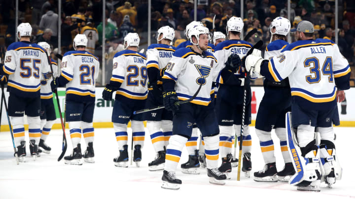 BOSTON, MASSACHUSETTS - JUNE 06: The St. Louis Blues celebrate their 2-1 win over the Boston Bruins in Game Five of the 2019 NHL Stanley Cup Final at TD Garden on June 06, 2019 in Boston, Massachusetts. (Photo by Adam Glanzman/Getty Images)