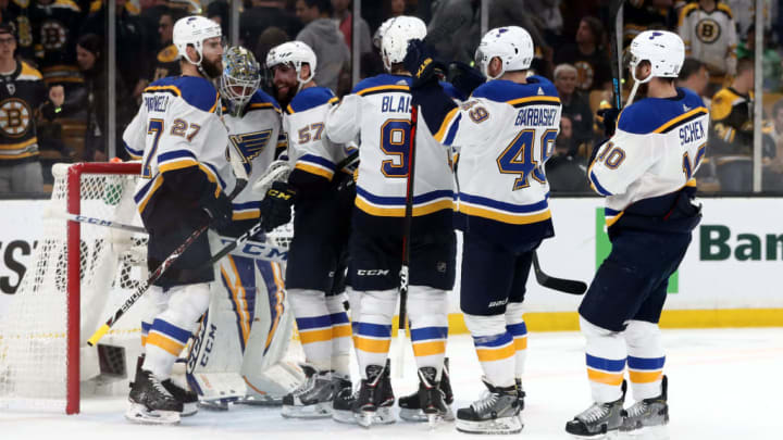 BOSTON, MASSACHUSETTS - JUNE 06:  Jordan Binnington #50 of the St. Louis Blues is congratulated by his teammates after their 2-1 win over the Boston Bruins in Game Five of the 2019 NHL Stanley Cup Final at TD Garden on June 06, 2019 in Boston, Massachusetts. (Photo by Adam Glanzman/Getty Images)