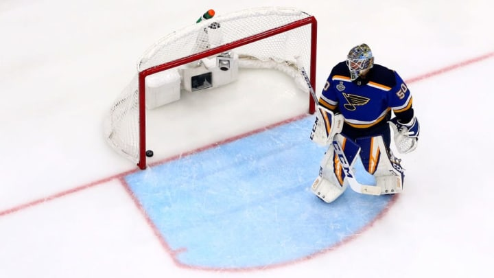 ST LOUIS, MISSOURI - JUNE 09:  Jordan Binnington #50 of the St. Louis Blues reacts after allowing a third period goal to Karson Kuhlman (not pictured) of the Boston Bruins in Game Six of the 2019 NHL Stanley Cup Final at Enterprise Center on June 09, 2019 in St Louis, Missouri. (Photo by Dilip Vishwanat/Getty Images)
