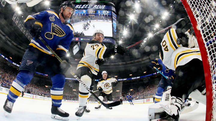 ST LOUIS, MISSOURI - JUNE 09:  Tuukka Rask #40 of the Boston Bruins stops a shot on his back against the St. Louis Blues during the second period in Game Six of the 2019 NHL Stanley Cup Final at Enterprise Center on June 09, 2019 in St Louis, Missouri. (Photo by Bruce Bennett/Getty Images)