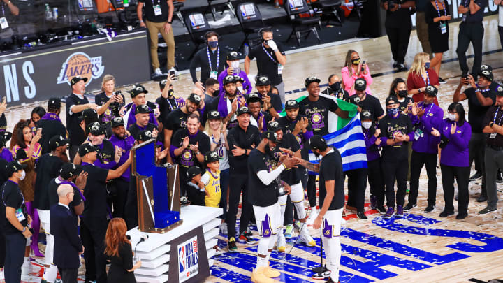 LeBron James and the Los Angeles Lakers celebrate their latest NBA Finals victory.