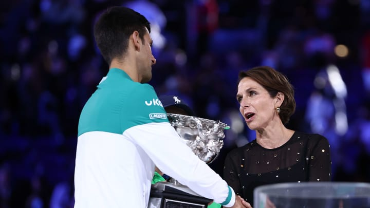 Novak Djokovic and Jayne Hrdlicka at the Australian Open.