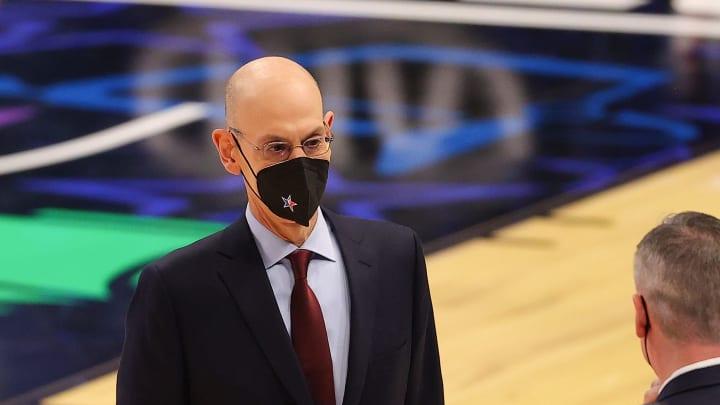 Adam Silver at the 2021 NBA All-Star game in Atlanta.