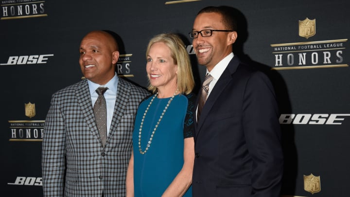 SAN FRANCISCO, CA - FEBRUARY 06:  (L-R) NFL coach Hue Jackson,  Dee Haslam and Sashi Brown attend the 5th Annual NFL Honors at Bill Graham Civic Auditorium on February 6, 2016 in San Francisco, California.  (Photo by Tim Mosenfelder/Getty Images)