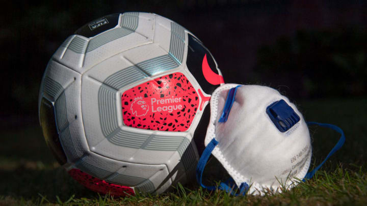 A Premier League Match Ball with a Protective Face Mask