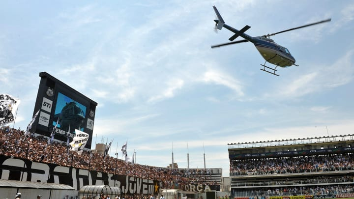 A helicopter carrying Brazilian football