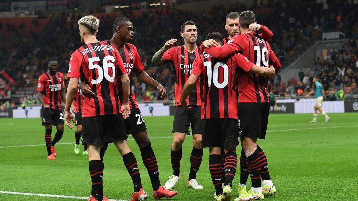 La gioia del Milan dopo la rete di Brahim Diaz
