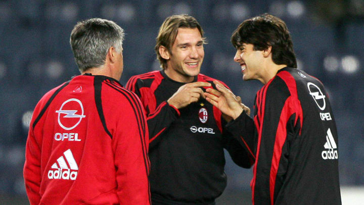 AC Milan's coach Carlo Ancelotti (L), Uk