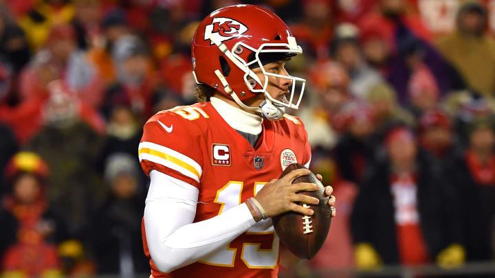 KANSAS CITY, MISSOURI - JANUARY 20: Patrick Mahomes #15 of the Kansas City Chiefs drops back to pass in the first half against the New England Patriots during the AFC Championship Game at Arrowhead Stadium on January 20, 2019 in Kansas City, Missouri. (Photo by Peter Aiken/Getty Images)
