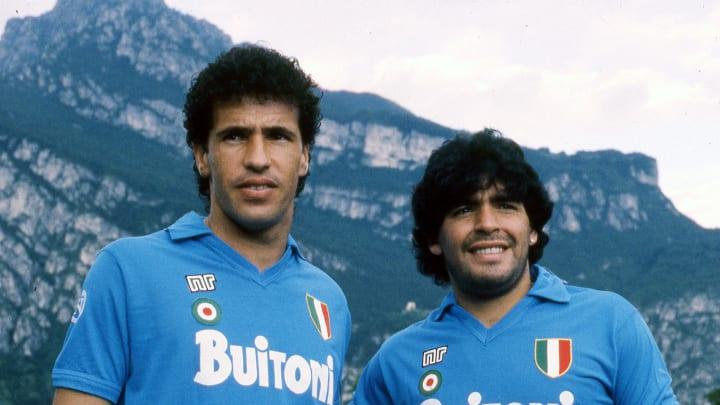 Careca y Maradona, compañeros inseparables en Napoli.