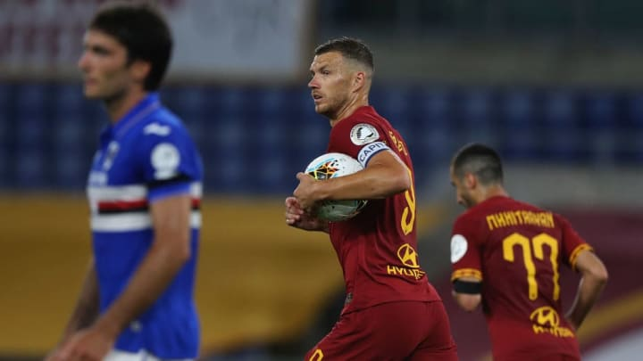 Edin Dzeko scored twice to earn a narrow win for Roma
