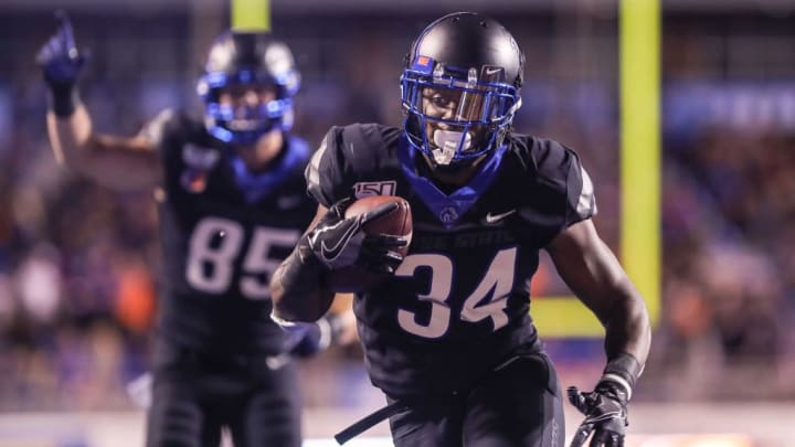 BOISE, ID - SEPTEMBER 20: Running back Robert Mahone #34 of the Boise State Broncos runs for a late touchdown during second half action against the Air Force Falcons on September 20, 2019 at Albertsons Stadium in Boise, Idaho. Boise State won the game 30-19. (Photo by Loren Orr/Getty Images)
