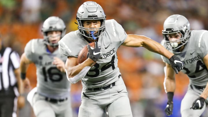 HONOLULU, HI - OCTOBER 19: Timothy Jackson #34 of the Air Force Falcons runs the ball during the third quarter of the game against the Hawaii Rainbow Warriors at Aloha Stadium on October 19, 2019 in Honolulu, Hawaii. (Photo by Darryl Oumi/Getty Images)