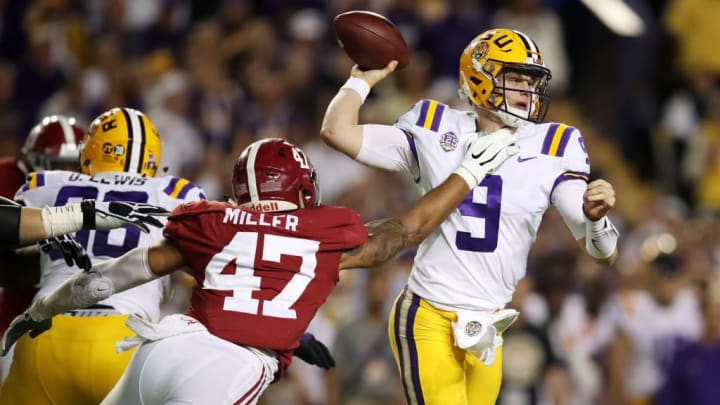 BATON ROUGE, LOUISIANA - NOVEMBER 03: Christian Miller #47 of the Alabama Crimson Tide attempts to sack Joe Burrow #9 of the LSU Tigers in the second quarter of their game at Tiger Stadium on November 03, 2018 in Baton Rouge, Louisiana. (Photo by Gregory Shamus/Getty Images)