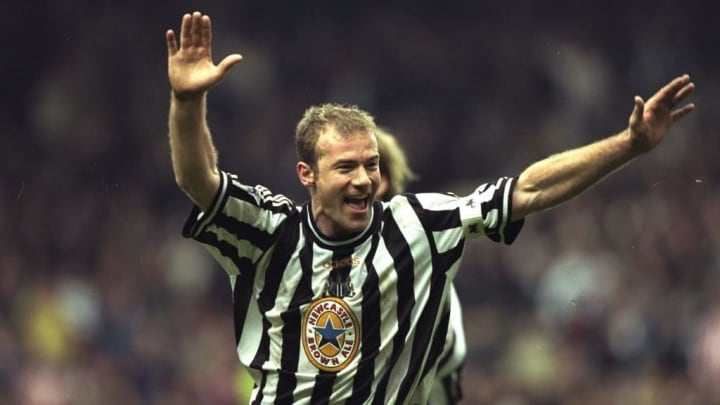 Alan Shearer celebrating scoring a goal